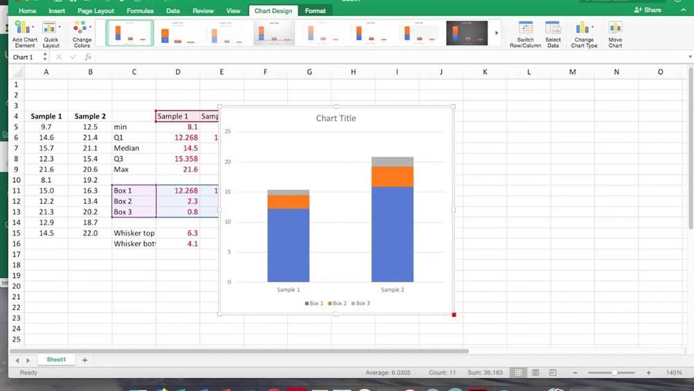 Exemplo de boxplot no Excel