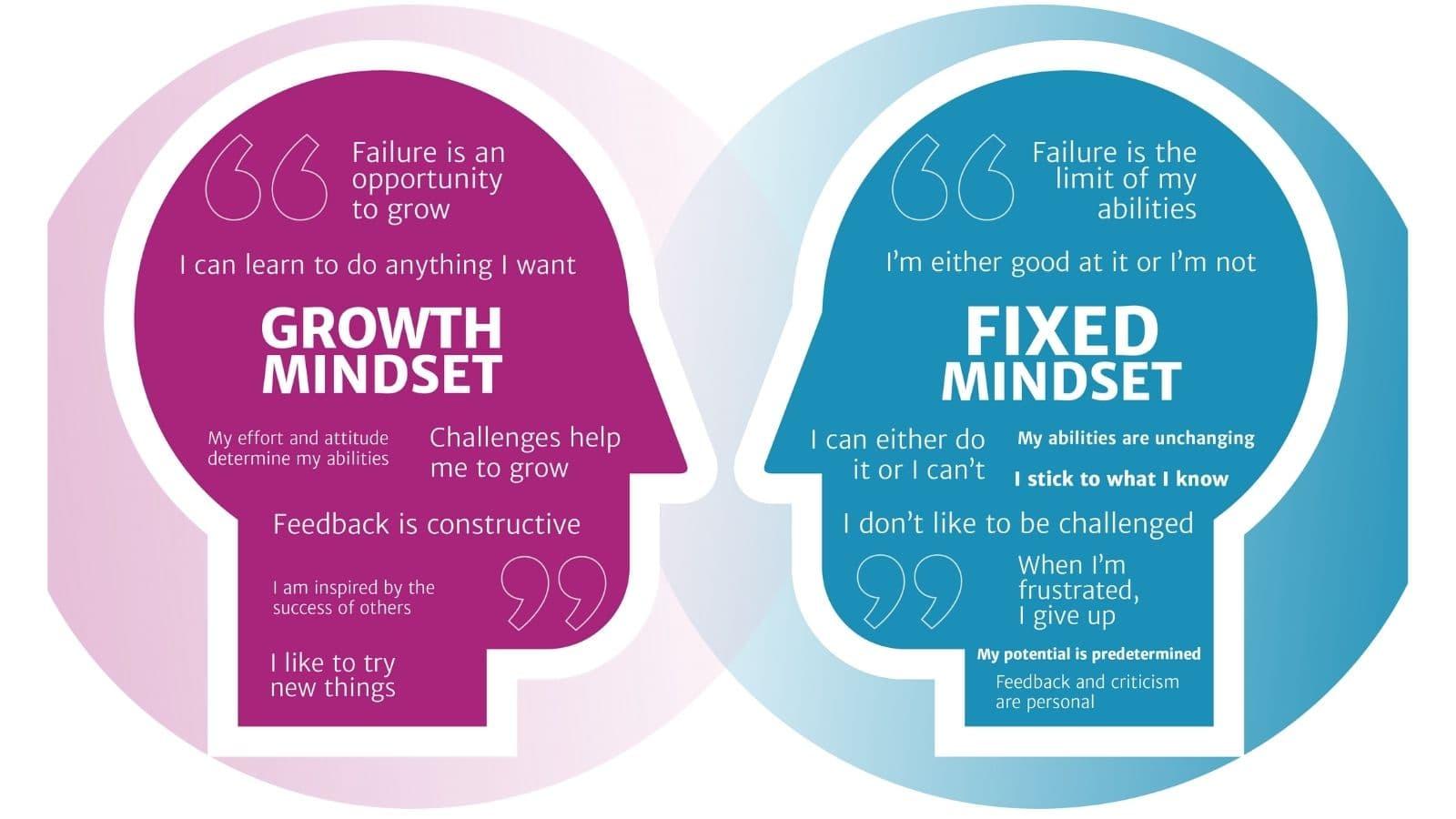 Nesta imagem, temos os 2 diferentes tipos de mindset