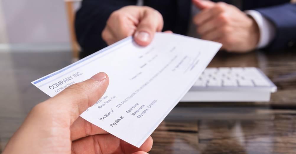 Imagem de um cheque no sistema de controle de cheques