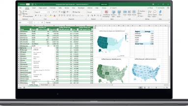 Uma foto de computador, na tela o Excel com gráficos