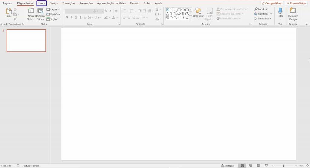 O primeiro passo de como montar o organograma no Powe Point