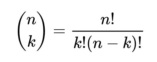 Combinação de N valores tomados de K a K.