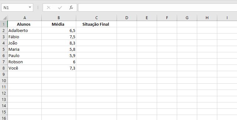 Na tabela, temos a aplicação do exemplo média final usando a função se